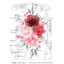 CrafTangles A4 Transfer It Sheets - Floral Script 3