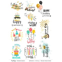 CrafTangles A4 Transfer It Sheets - Quotes - Birthday