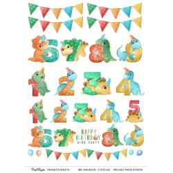 CrafTangles A4 Transfer It Sheets - Birthday Dinosaurs