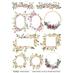 CrafTangles A4 Transfer It Sheets - Floral Frames 2
