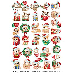 CrafTangles A4 Transfer It Sheets - Christmas Animals 1