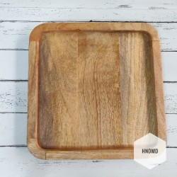 Rounded Square Wooden Tray for Decoupage