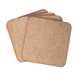 CrafTangles 5mm MDF Tea Coasters (4 pcs) - Rounded Square