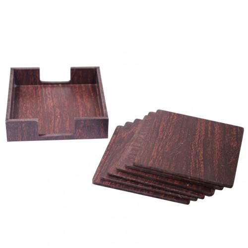 Wooden Tea Coasters - Dark (6 pcs)