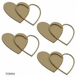 Tea Coaster MDF Heart 4 Inch 4Pcs Set