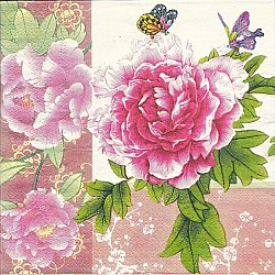A pack of 12 by 12 inch Decoupage Napkins(5 pcs)  - Floral Design 28