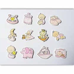 Baby Girl Wooden Embellishment Set (12 pcs)
