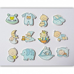 Baby Boy Wooden Embellishment Set (12 pcs)