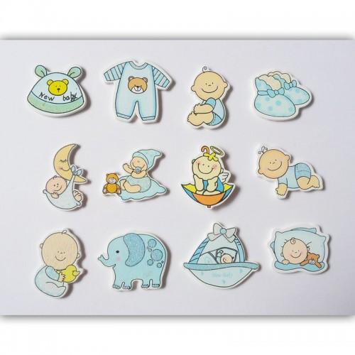 Baby Boy Wooden Embellishment Set (12 pcs)