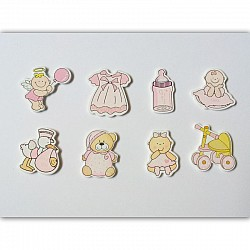 Baby Girl Wooden Embellishment Set (8 pcs)