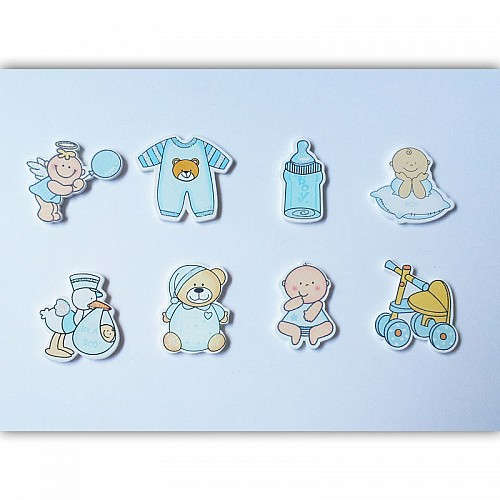 Baby Boy Wooden Embellishment Set (8 pcs)