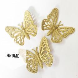 Large Glitter Butterflies (pack of 5) - Golden