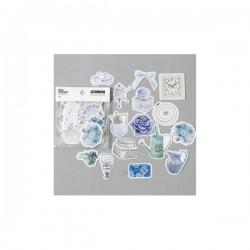 Blue Florals Silver foiled Stickers or Ephemera (45 pcs)