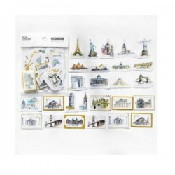 Travel places gold foiled Stickers or Ephemera (45 pcs)