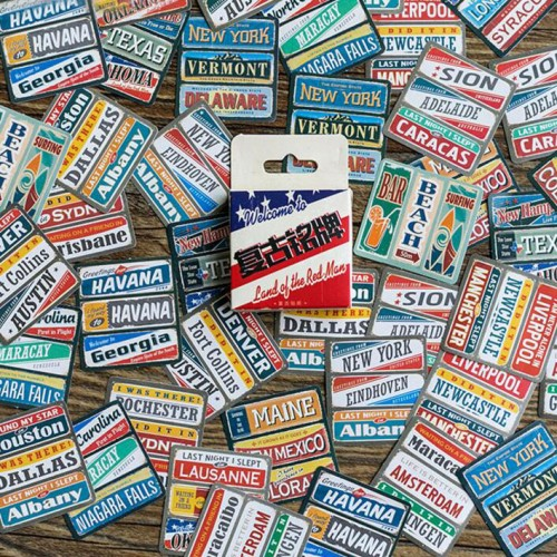 Colorful travel plates Stickers or Ephemera (45 pcs)