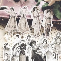 Vintage Girls Ephemera or Stickers (14 pcs)