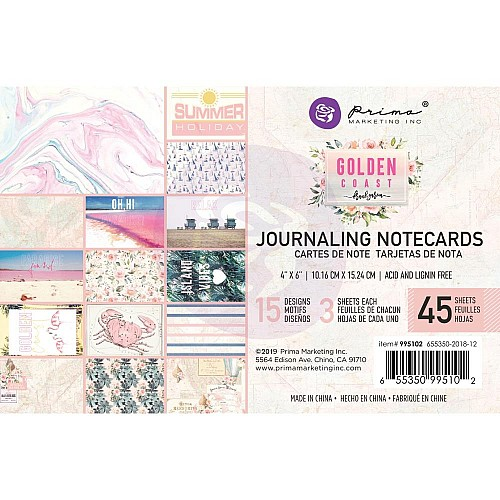 Prima 4 by 6 journalling cards - Golden Coast