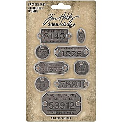 Tim Holtz Idea-Ology Metal Factory Tags 9/Pkg