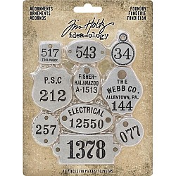 Tim Holtz ideaology Metal Adornments 10/Pkg - Foundry