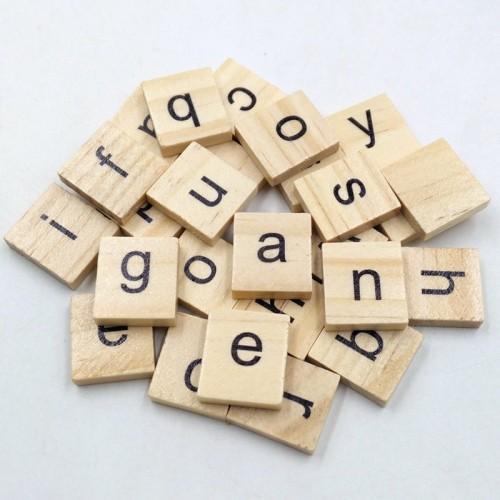 Wooden Alphabets Tiles - Lowercase Letters (50 pcs)