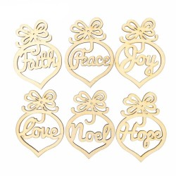 Assorted Wooden Ornaments - 6 pcs