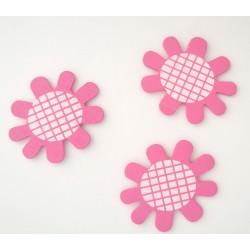 Wooden Die Cuts - Flowers - Pink (Pack of 5)