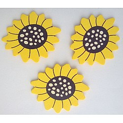 Wooden Die Cuts - Flowers - Yellow and Black (Pack of 5)