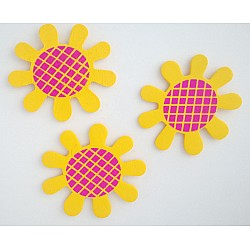 Wooden Die Cuts - Flowers - Yellow (Pack of 5)