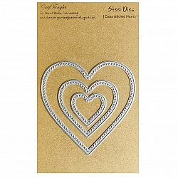 CrafTangles Steel Dies - Cross Stitched Hearts (Set of 3 dies)