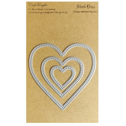 CrafTangles Steel Dies - Cross Stitched Hearts (Set of 3 dies)