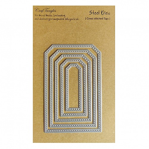 CrafTangles Steel Dies - Cross Stitched Tags (Set of 5 dies)