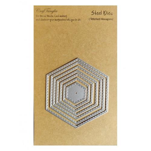 CrafTangles Steel Dies - Stitched Hexagons (Set of 5 dies)