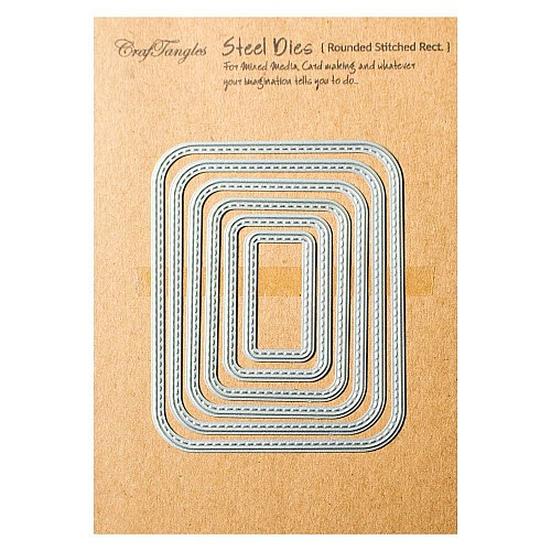 CrafTangles Steel Dies - Rounded Stitched Rectangles (Set of 6 dies)