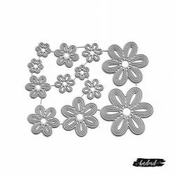 Steel Dies - 6 petal decorative flowers (Set of 12 dies)