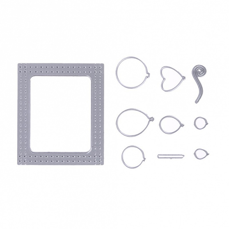Buy Steel Dies - Double stitched mini frame with balloons (Set of 10 ...