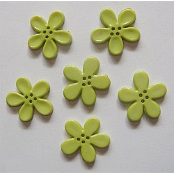 Plastic Flower Buttons - Green