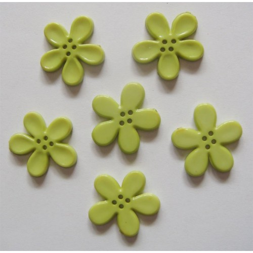 Plastic Flower Buttons - Green
