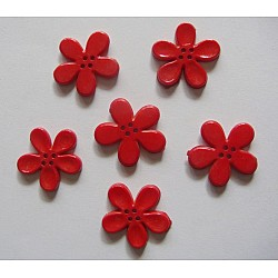 Plastic Flower Buttons - Red