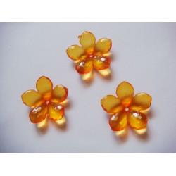Plastic Flowers - Orange (Pack of 10 flowers)