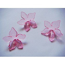 Plastic Curled Flowers - Baby Pink (Pack of 10 flowers)