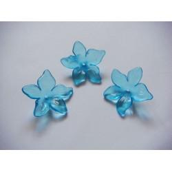 Plastic Curled Flowers - Sea Blue (Pack of 10 flowers)