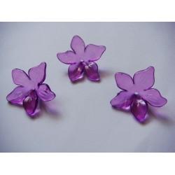 Plastic Curled Flowers - Purple (Pack of 10 flowers)