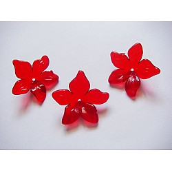 Plastic Curled Flowers - Red (Pack of 10 flowers)