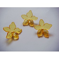 Plastic Curled Flowers - Yellow (Pack of 10 flowers)