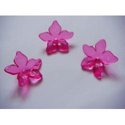 Plastic Curled Flowers - Dark Pink (Pack of 10 flowers)