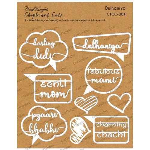 CrafTangles Chipboard Cuts - Dulhania (Bride)