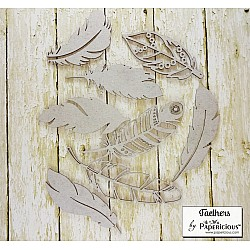Papericious Collage Chipboard Elements - Feathers