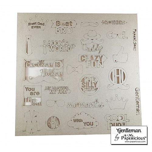 Papericious Themed Chipboard Elements - Gentleman