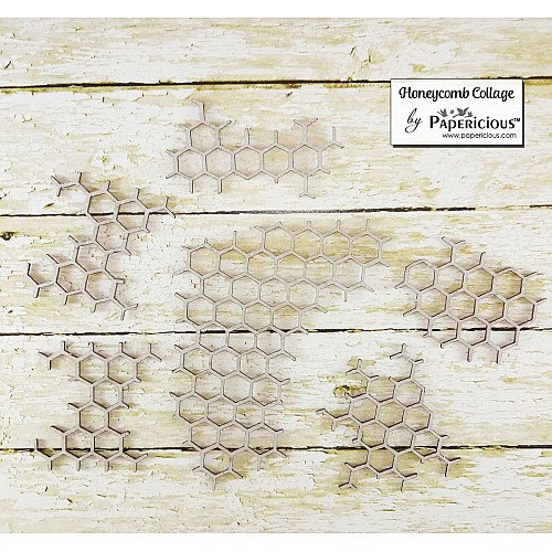Papericious Collage Chipboard Elements - Honeycomb Collage
