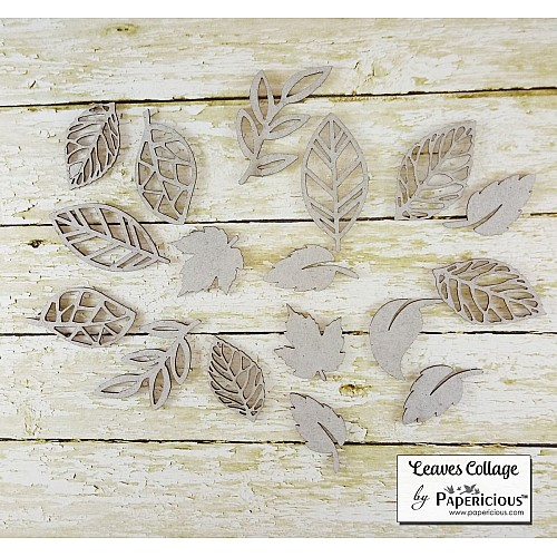 Papericious Collage Chipboard Elements - Leaves Collage